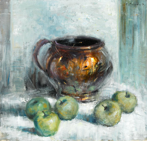 Christopher Tugwell (South African, born 1938) still life with apples unframed