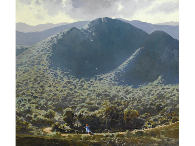 Neil Rodger (South African, born Cape Town 1941) Zuurberg landscape with child