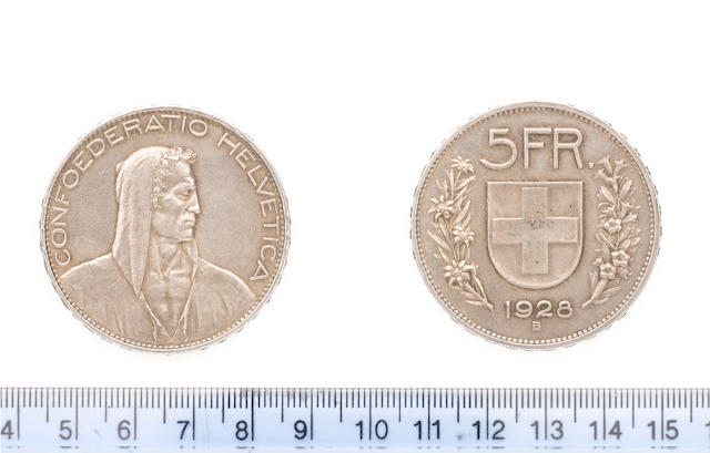 Switzerland, Confederation, 5 Francs, 1928B, 25.06g, William Tell right,