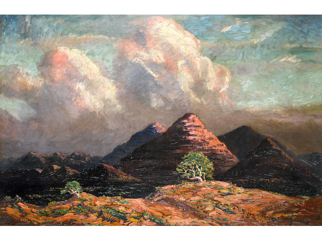Jacob Hendrik Pierneef (South African, 1886-1957) Mountains near Okahandja, South West Africa unframed