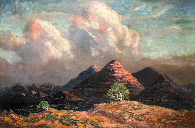 Jacob Hendrik Pierneef (South African, 1886-1957) Mountains near Okahandja, South West Africa unframed