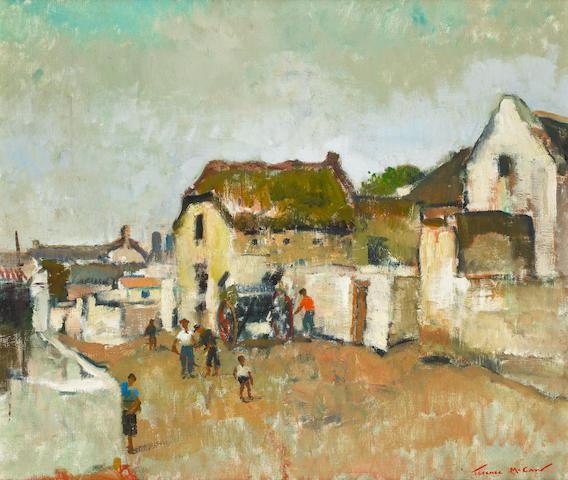 Terence John McCaw (South African, 1913-1978) Street scene in Elim Mission  58.5 x 68.5cm (23 x 27in).