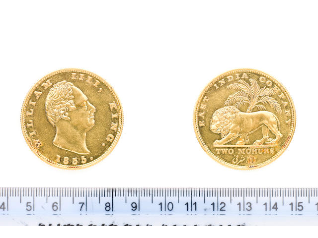 India, East India Company, William IV, Gold Restrike Two Mohurs, 1835, 23.39g, bare head right, R.S. incuse on truncation,