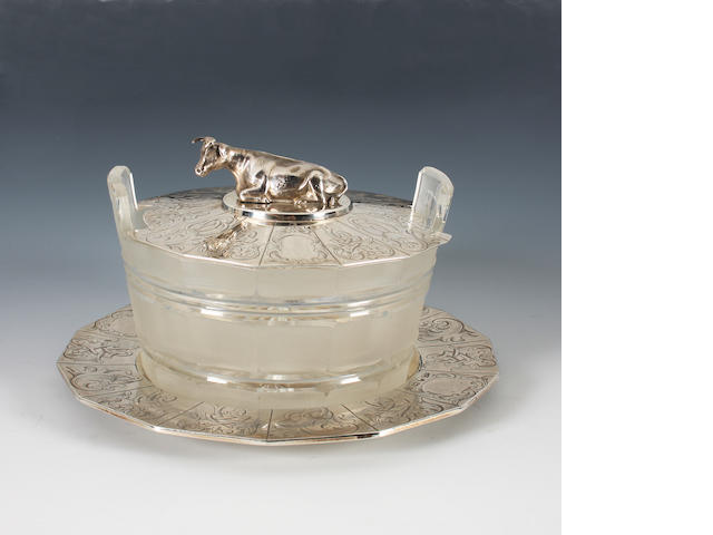 An early Victorian silver mounted cut glass butter dish By Henry Wilkinson & Co, Sheffield, 1846,
