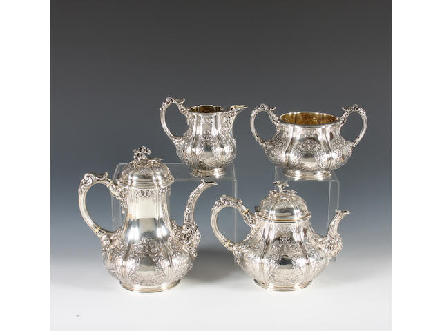 A Victorian silver four piece tea set By R & S Garrard & Co, London, 1859,  (4)