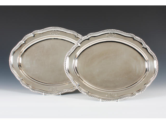 A pair of George III silver meat dishes By Andrew Fogelberg and Stephen Gilbert, London, 1789,  (2)