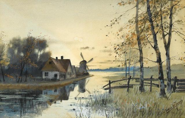 Marthinus (Tinus) Johannes de Jongh (South African, 1885-1942) A Dutch river landscape