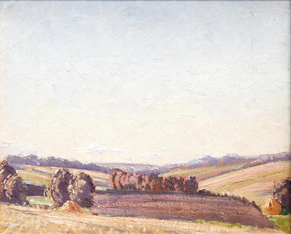 Norman Lloyd (Australian, 1897-1985) Expansive landscape 32 x 39 cm. (12 1/2 x 15 1/4 in.)