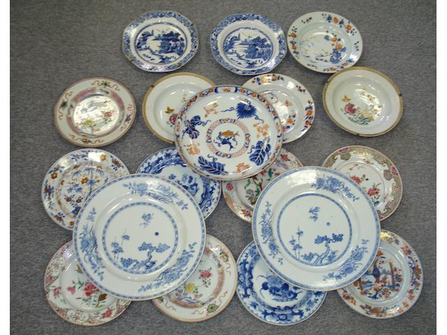 A collection of 18th Century Chinese Export plates,