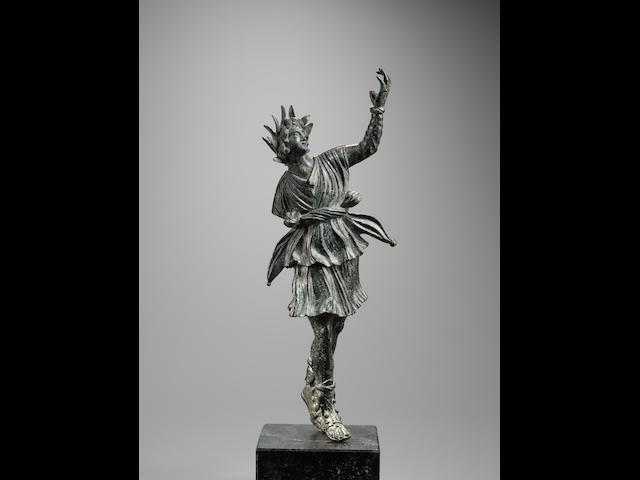 A Roman bronze figure of dancing Lar
