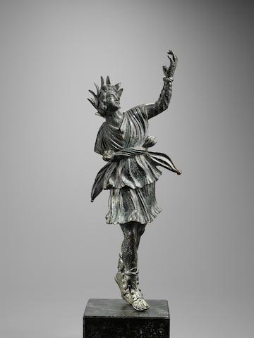 A Roman bronze figure of dancing Lar