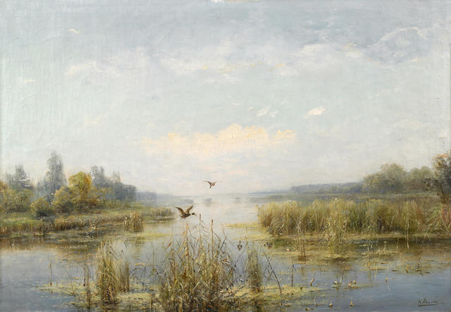 "Karl Rosen, ""Landscape with a Lake"" Oil on canvas"