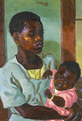 George Mnyalaza Milwa Pemba (South African, 1912-2001) Mother and child