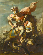 Austrian School, 18th Century Saint George slaying the Dragon (recto); and Two warrior saints (verso)