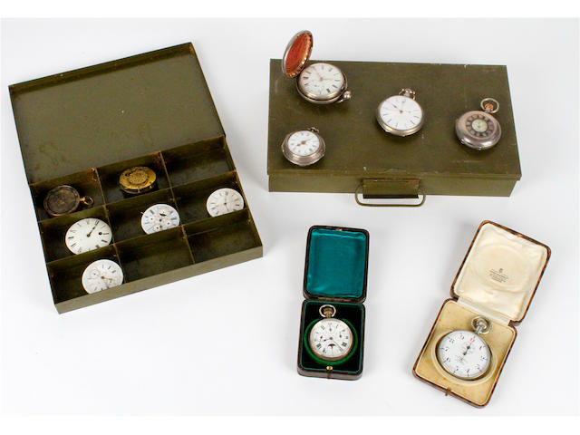 A silver pair cased pocket watch