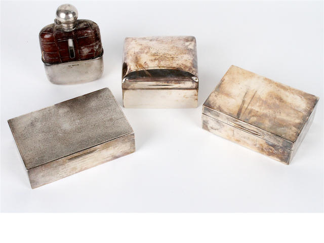 A silver-mounted half leather covered hip flask Sheffield, 1921  (4)