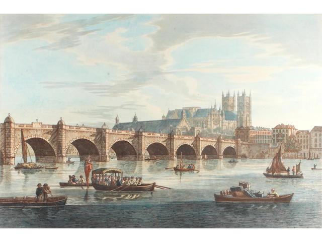 After Joseph Farington R.A. View of Westminster Bridge; View of Somerset Place; View of Black-Friars Bridge; View of London Bridge, a set of four hand coloured aquatints, 40 x 60cm 4