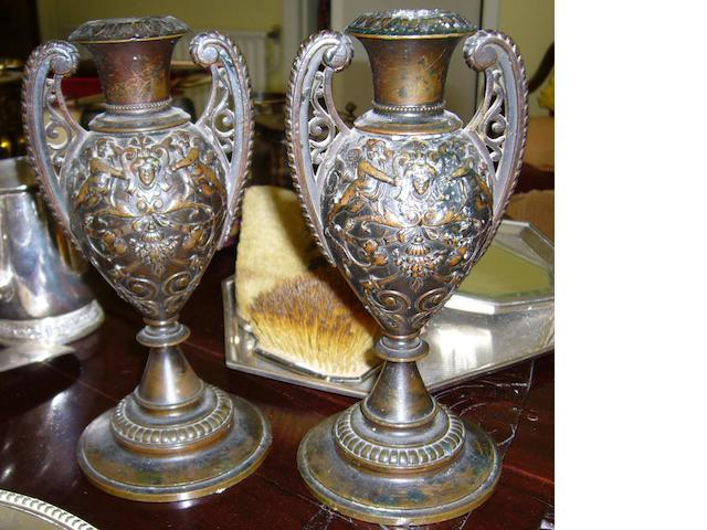 A pair of 19th century bronze garnitures