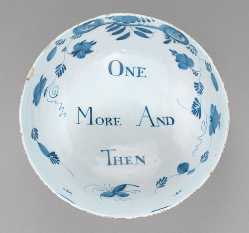 An English delftware punchbowl, circa 1760-70