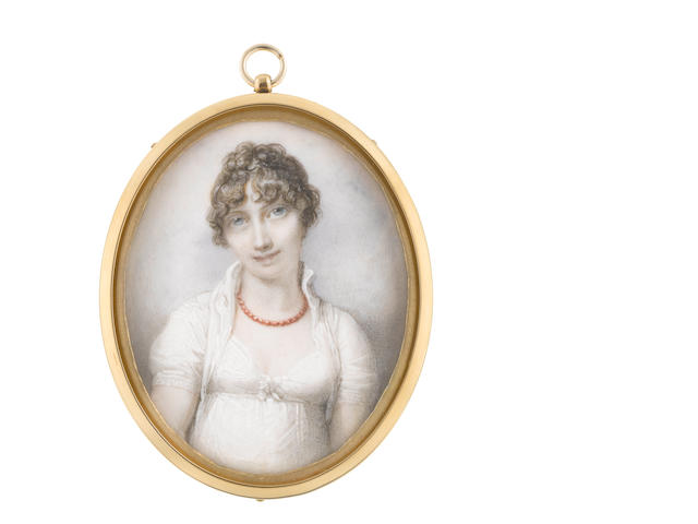 Richard Cosway RA (British, 1742-1821) Mrs Charlotte Anna Hume (née Dick) (c.1774-1864), wearing white dress and coral necklace, her fair hair curled and upswept