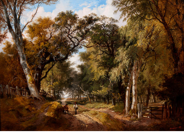 John Berney Ladbrooke (British, 1803-1879) A wooded landscape with figures resting on a track