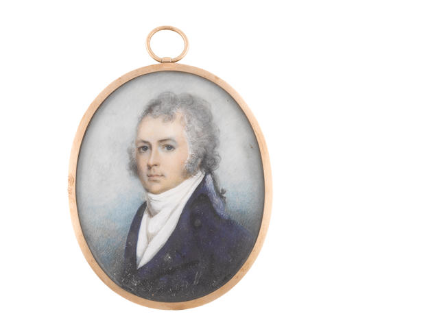 Irish School, circa 1790 James Wandesford Butler, 1st Marquess of Ormonde (1777-1838), wearing blue coat, white waistcoat, chemise, stock and cravat, his powdered hair tied with a black ribbon bow