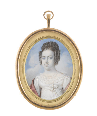 Adalbert Suchy (Austrian, 1783-1849) A Lady, wearing white dress with frilled trim and ribbon sash at her empire line fastened in a bow, pink stole with embroidered trim draped around her shoulders, double stranded pearl necklace, her hair curled in ringlets, the back plaited high upon her head