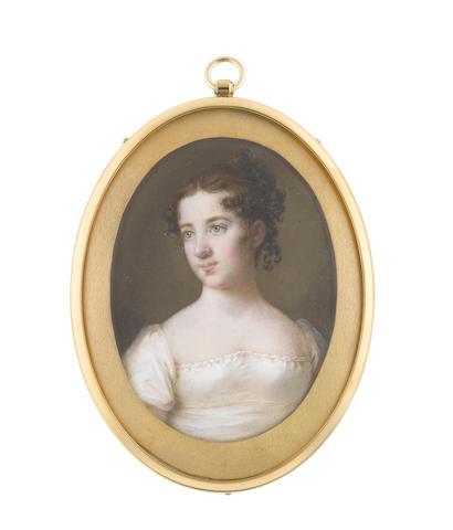 Circle of Frederik Christian Camradt (Danish, 1762-1844) Countess Wilhelmina Frederika Hedwig Von Platen-Hallermunde (b.1798), wearing white dress, her brown hair curled and upswept