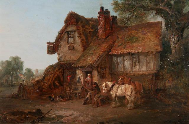 """Edward Robert Smythe (British, 1810-1899) """"Feeding the chickens"""""""