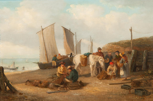 Thomas Smythe (British, 1825-1906) A busy beach scene with vessels, a pony and figures buying fish and mending nets
