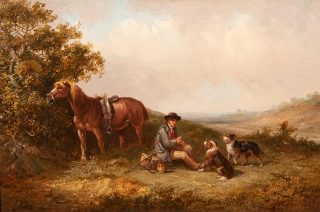 Thomas Smythe (British, 1825-1906) The lunch time break, farm worker with horse and dogs resting in a landscape