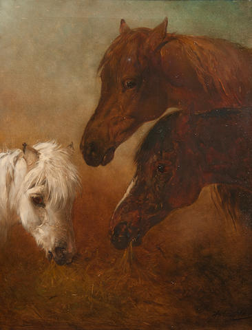 Edward Robert Smythe (British, 1810-1899) Three horses' heads