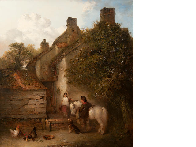 Edward Robert Smythe (British, 1810-1899) Children with grey pony, spaniel and chickens at a cottage doorway