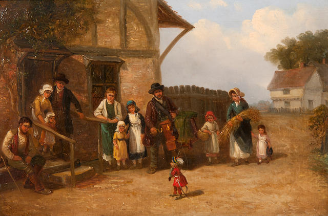 Thomas Smythe (British, 1825-1906) The itinerant organ grinder with his performing monkey entertaining a small audience (eleven figures)