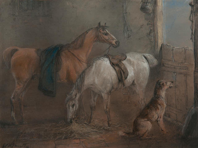 Edward Robert Smythe (British, 1810-1899) Two bay hunters and a dog in a stable interior