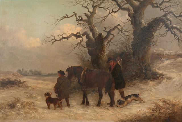 Thomas Smythe (British, 1825-1906) The gamekeepers' return in snow