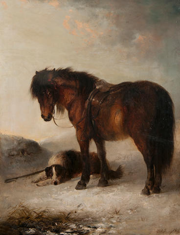 Edward Robert Smythe (British, 1810-1899) Bay pony with sheepdog and crook in the snow