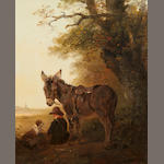 Edward Robert Smythe (British, 1810-1899) A boy with donkey and dog resting beneath an old oak tree