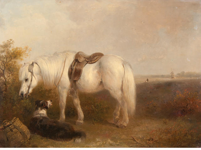 Edward Robert Smythe (British, 1810-1899) Grey pony and sheep dog waiting for their master