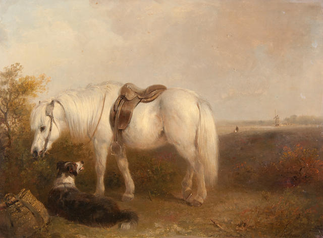 Edward Robert Smythe (British, 1810-1899) Grey pony and sheep dog waiting for their master