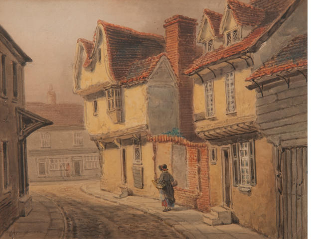 Thomas Smythe (British, 1825-1906) 'On St Margarets Green'; 'The Saracens head, Ipswich'; 'Old Running Buck, Ipswich'; 'The Helbird, Ipswich'; a set of four (4)