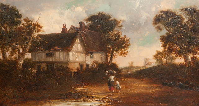 Thomas Smythe (British, 1825-1906) Returning home - mother and child before a timbered farmhouse, with church beyond