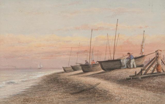 Thomas Smythe (British, 1825-1906) Coastal scene with fishing boats on the shore