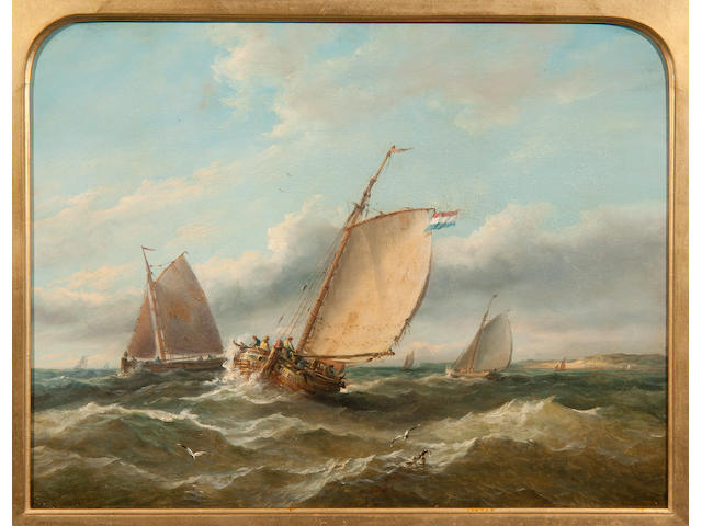 John Moore of Ipswich (British, 1820-1902) Fishing Vessels off a coastline