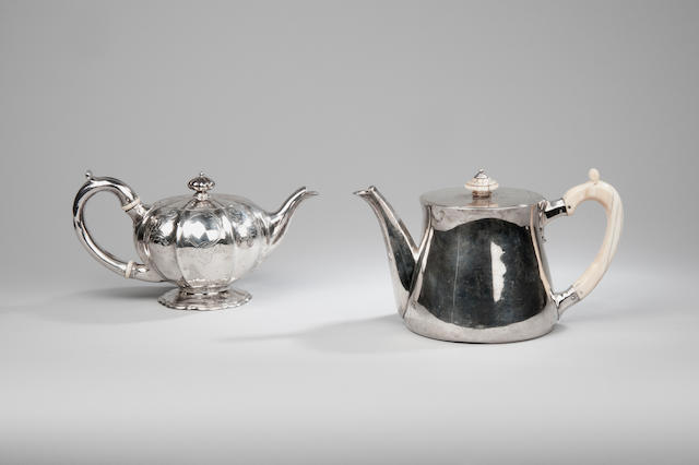 A late Victorian silver teapot together with a William IV teapot by Robert Garrard London 1890