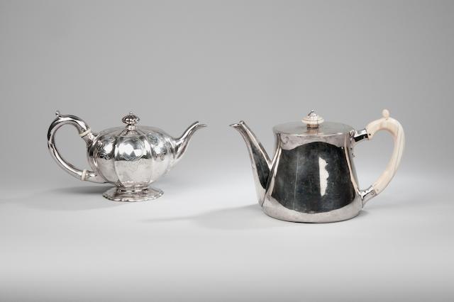 A late Victorian silver teapot by Robert Garrard London 1890