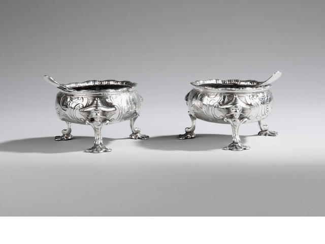 An unusual pair of George II silver cauldron salts London 1759