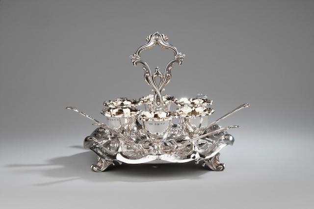 A Victorian silver egg cruet Maker's mark E.E. & Company Birmingham 1859