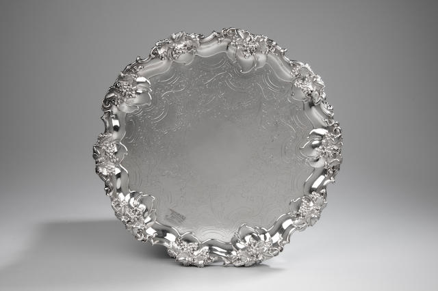A Victorian silver salver By James Dixon & Sons Sheffield 1840