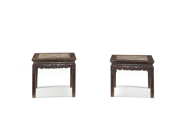 A pair of marble-inlaid zitan square stools 18th/19th century
